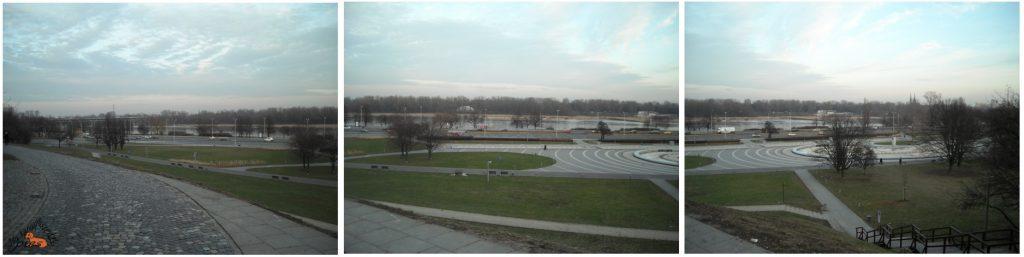 Widok na Park Fontann, Wisłostradę i Wisłę